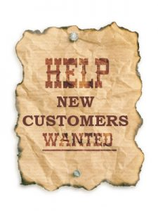 Image of a sign that says Help New Customers wanted